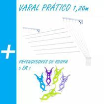 Varal Prático Teto Parede Aço 1 M 6 Varetas E 24 Pregador. / - Secalux