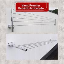 Varal Roupa Alumínio Articulado Retratil Parede 5 Cordas - Home Varais