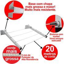 Varal Roupas Parede Muro Dobrável Articulado 20 metros de corda Reforçado suporta 50kg - Beltempo -