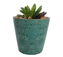 Vaso Cachepô De Cerâmica Embossed Verde - Urban -