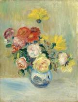 Vaso com Rosas e Dálias - Pierre-Auguste Renoir - Tela 50x65 Para Quadro - Santhatela
