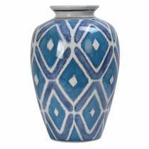 Vaso de Porcelano Geometrico Azul - Decorafast