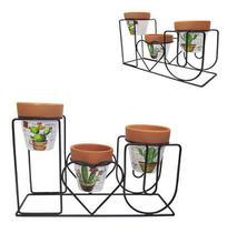 Vaso decorativo de cerâmica com suporte 3 pçs - FWB
