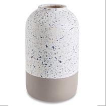Vaso Decorativo em Cimento Branco com Cinza 21cm - Mart