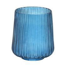 Vaso Decorativo em Vidro Azul Escamas 16 x 19,5 cm - Casa Del Grande