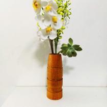 """Vaso Decorativo """"Estações"""" em madeira para flores, suculentas e galhos - Cosmos"""