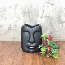 Vaso Face Preto - Cerâmica - Dayhome -  Grande 19 X 8,5 Cm -