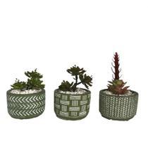 Vasos cachepot  em cimento kit 3 peças verde - Aílton design