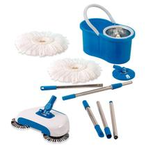 Vassoura Mágica, Spin Mop Cesto Inox Com 2 Refis - Vendasshop Utensilios De Limpeza