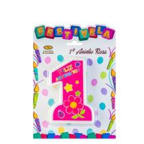 Vela de Aniversário 1 Ano Rosa Mundo Bizarro - Festabox