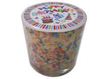 Vela de Aniversário no Copo com Confete e Aroma de Chocolate - Jc Plus