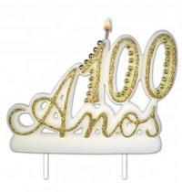 Vela Especial De 100 Anos Para Festa E Bolo De Aniversário Branca com Dourado - Ref: 1355 - Velarte