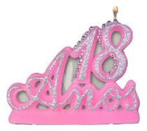 Vela Especial De 18 Anos Para Festa E Bolo De Aniversário Rosa com Prata - Ref: 1235 - Velarte