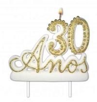 Vela Especial De 30 Anos Para Festa E Bolo De Aniversário Branca com Dourado - Ref: 1349 - Velarte