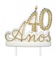 Vela Especial De 40 Anos Para Festa E Bolo De Aniversário Branca com Dourado - Ref: 1350 - Velarte