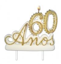 Vela Especial De 60 Anos Para Festa E Bolo De Aniversário Branca com Dourado - Ref: 1351 - Velarte
