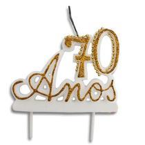 Vela Especial De 70 Anos Para Festa E Bolo De Aniversário Branca com Dourado - Ref: 1352 - Velarte