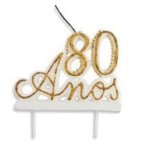Vela Especial De 80 Anos Para Festa E Bolo De Aniversário Branca com Dourado - Ref: 1353 - Velarte