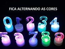 """Vela Numerica Led Base Dourada Comemorações Aniversário 8cm """"0"""" - Inter.P"""