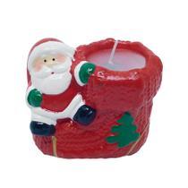 Vela papai noel ceramica 9,4 x 5,7 x 8,2cm - niazitex -