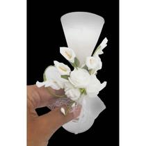 Vela Parafina Decorativa Mini Festas Casamento 15 Anos Flor Branca (WL-C) - Braslu