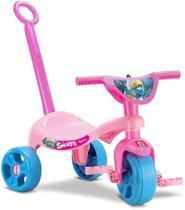 Velotrol Infantil Motoca Triciclo Menina Smurf com Haste - Samba Toys