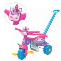 Velotrol infantil Unicórnio Rosa Luz Empurrador Motoquinha Triciclo Tico Tico - Magic Toys 2570 -
