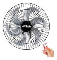 Ventilador de Parede 50cm 6 Pás Preto/Prata Turbão Controle Remoto - LCG Eletro