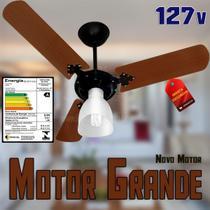 Ventilador De Teto Delta Light Novo Motor Grande Preto com Pás Marrom 127v c/Globo 3 Velocidades -