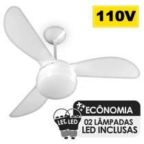 Ventilador de Teto Ventisol Fenix Branco 3 Pás, Cv3, 02 Lâmpadas Led Inclusas - 127v -