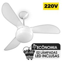 Ventilador de Teto Ventisol Fenix Branco 3 Pás, Cv3, 02 Lâmpadas Led Inclusas - 220v -