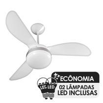 Ventilador de Teto Ventisol Fênix Branco / Silver 3 Pás, Cv3, 02 Lâmpadas Led Inclusas - 127v -