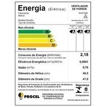 Ventilador Oscilante de Parede Ventura 60 Cm Preto Bivolt Super Economia de Energia - Venti delta