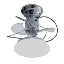 Ventilador Treviso Lustre Atenas Cromado Luminaria Led 18w Quarto Sala Cozinha Loja  TRV22 -