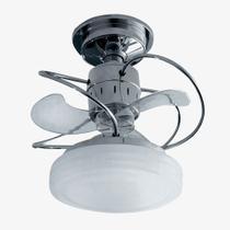Ventilador Treviso Lustre Bali Cromado Controle Remoto Led Sala Quarto Cozinha Loja 18w  TRV40 -