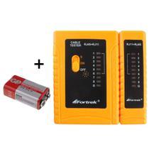 Verificador de Cabo de Rede RJ45 RJ11 Master e Remoto + Bateria de 9V - Fortrek TCF101 -