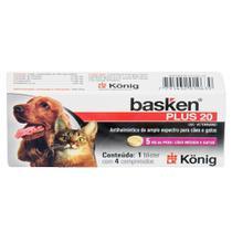 Vermífugo Basken Plus 20 König p/ Cães Médios e Gatos com 5kg  c/ 4 Comprimidos - Konig