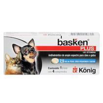 Vermífugo Basken Plus  p /Cães e Gatos até 2,5kg - c/4 Comp. - Konig