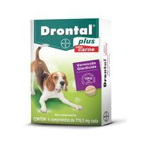VERMÍFUGO Drontal Plus Carne CÃES ATÉ 10KG Com 4 Comprimidos - Bayer