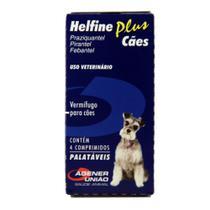 Vermifugo Helfine Plus para Cães - 4 Comprimidos - Agener Uniao