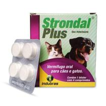 Vermífugo Oral Indubras Strondal Plus Para Cães E Gatos 1 Blíster Com 4 Comprimidos -