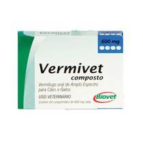 Vermífugo Oral para Cães e gatos Vermivet Composto 600 mg com 4 Comprimidos - Biovet