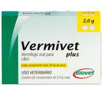 Vermífugo Para Cães Vermivet Plus 2,0 30kg - Caixa 2 Comprimidos - Biovet