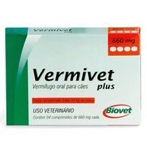 Vermífugo Para Cães Vermivet Plus 660mg 10kg - Caixa 4 Comprimidos - Biovet