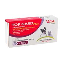 Vermífugo Top Gard Plus 600mg Cães E Gatos Vansil C/ 4 Comprimidos -