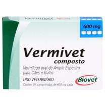 Vermífugo Vermivet Composto Biovet 600mg c/ 4 Comprimidos -