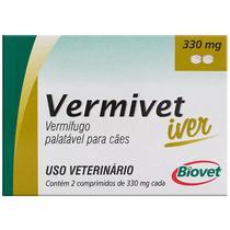 Vermífugo Vermivet Iver 330mg Cães Até 10 Kg 2 Comprimidos - Biovet
