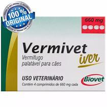 Vermífugo Vermivet Iver 600mg Cães Até 10 Kg 4 Comprimidos - Biovet