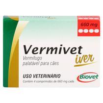 Vermífugo Vermivet Iver Biovet 660mg c/ 4 Comprimidos -