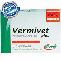Vermífugo Vermivet Plus 600mg Cães Até 10 Kg 4 Comprimidos - Biovet